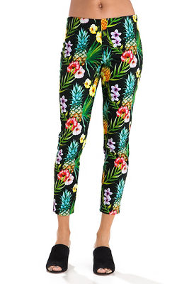 Noir tropical side zip capri pant