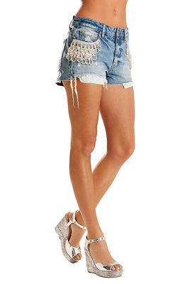 Rhinestone embellished cutoff denim short