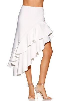 Asymmetric ruffle midi skirt