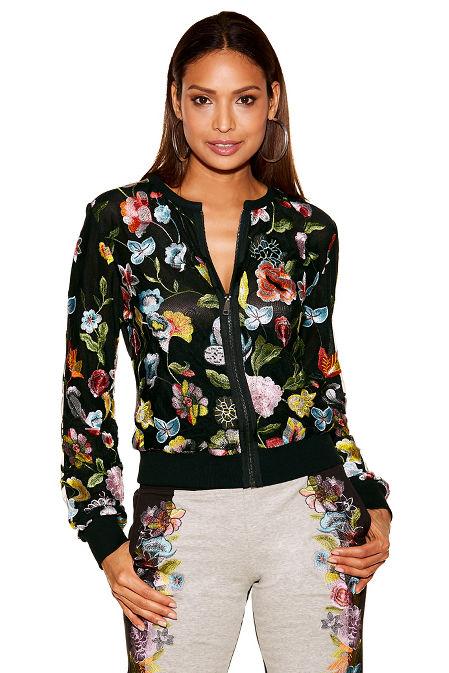 Floral embroidered sport bomber jacket image