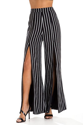 Front slit striped pant