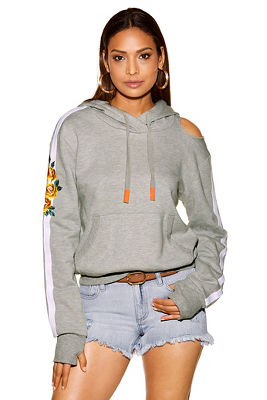 Cutout embroidered hoodie