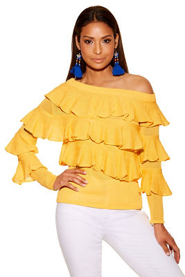 asymmetric sleeve ruffle sweater
