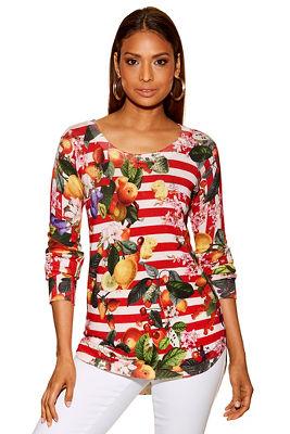 Lemon print stripe sweater