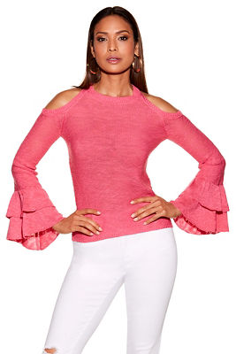 tiered ruffle sleeve cold-shoulder sweater