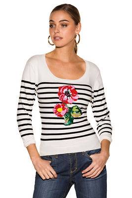 Floral applique stripe sweater