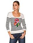 Floral Applique Stripe Sweater Photo