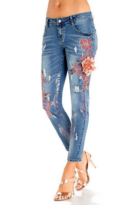 3D floral embroidered jean