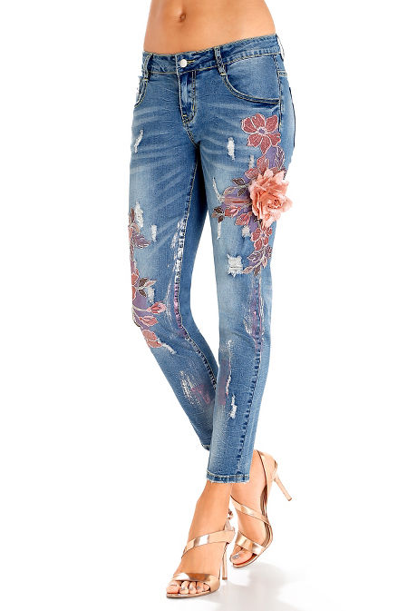 3D floral embroidered jean image