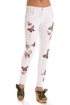 Butterfly embellished skinny jean
