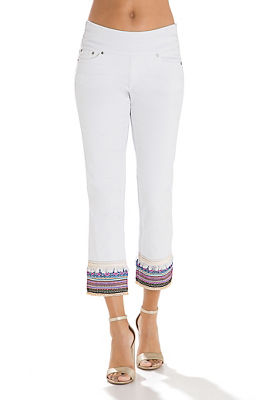 Embroidered hem crop jean