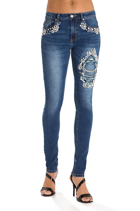 Jeweled distressed skinny jean image