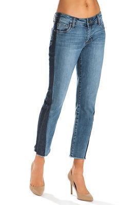 Shadow stripe ankle jean