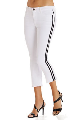 Side stripe raw hem crop jean