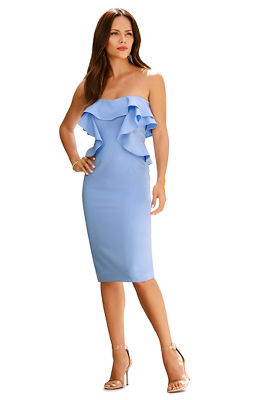 Ruffle strapless sheath dress
