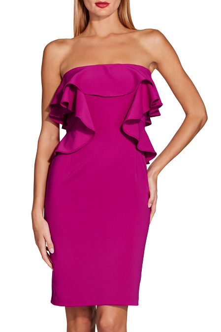 Ruffle strapless sheath dress image