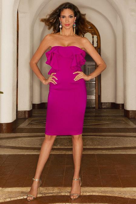 Ruffle strapless sheath dress image