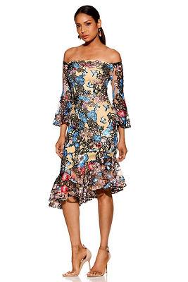 Sequin embroidered floral off-the-shoulder dress