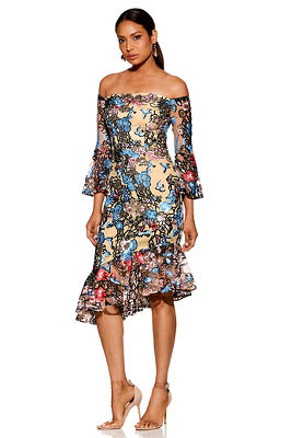 Sequin embroidered floral off-the-shoulder dress