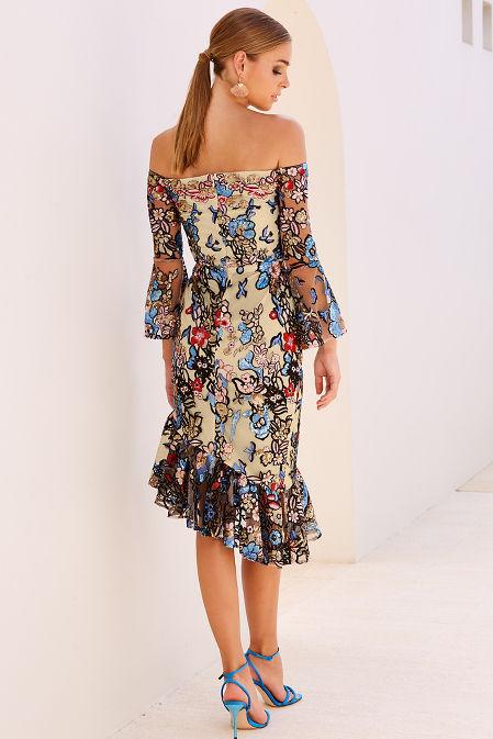 Sequin embroidered floral off-the-shoulder dress image