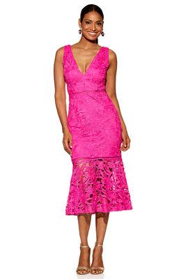 Chunky lace v-neck sheath dress