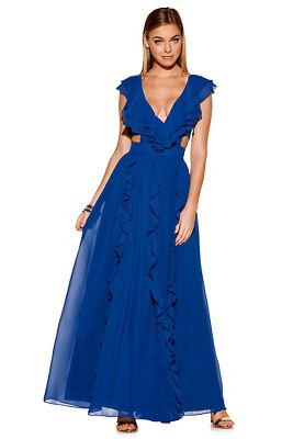 Ruffle cutout maxi dress