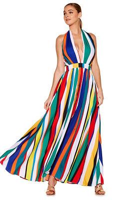 Multicolor stripe maxi dress