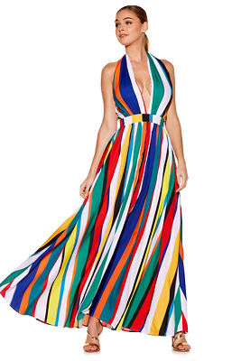 Multicolor stripe maxi dress