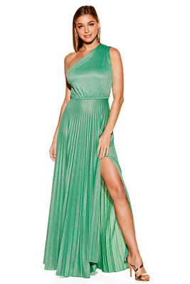 One shoulder pleated maxi dress