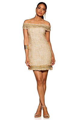 Off-the-shoulder chain tweed dress