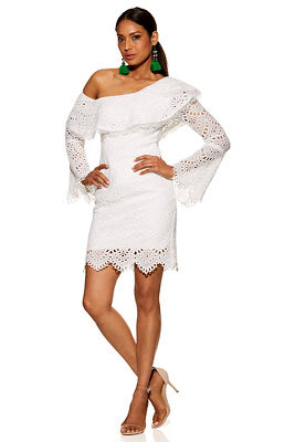 Lace asymmetrical long-sleeve dress