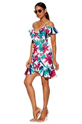 Multicolor floral cold-shoulder dress