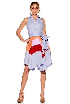 Tricolor poplin dress