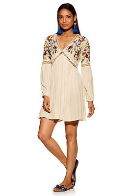 Embroidered long-sleeve dress