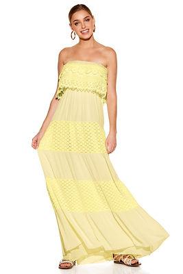 Crochet tiered strapless maxi dress