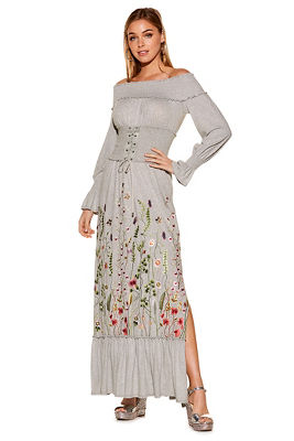 Embroidered corset off-the-shoulder maxi dress