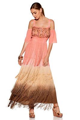 Sequin fringe cold shoulder peasant dress