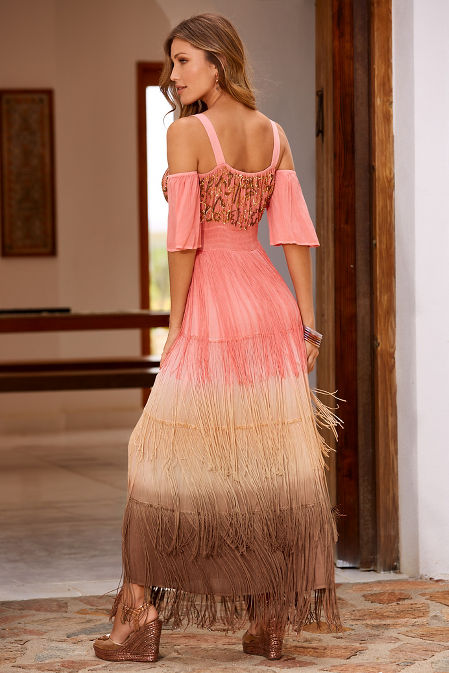 Sequin fringe cold shoulder peasant dress image
