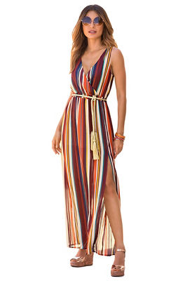 Stripe shimmer maxi dress