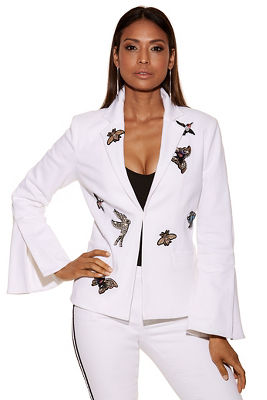 Display product reviews for Embellished patch blazer