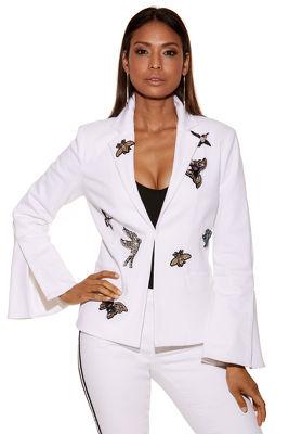 Embellished patch blazer