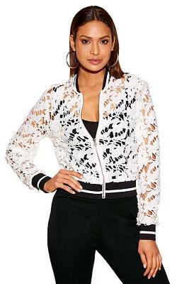 racer stripe crochet bomber jacket