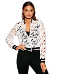 Racer Stripe Crochet Bomber Jacket Photo
