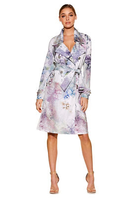 Floral pearl trench coat