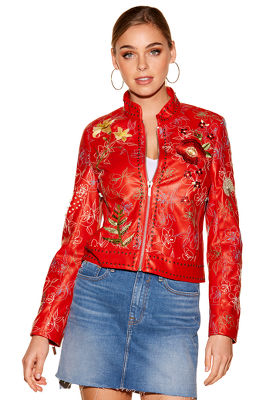 Embroidered vegan leather jacket