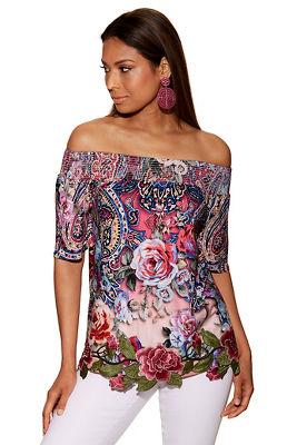 Paisley rose applique off-the-shoulder top