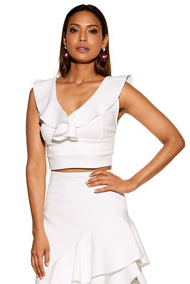 ruffle sleeveless crop top