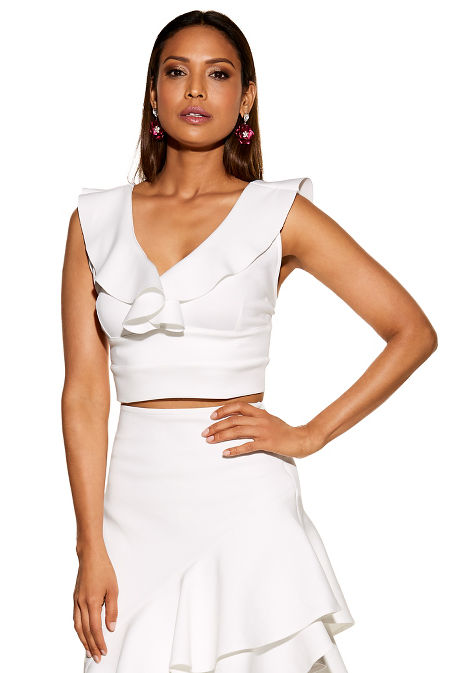 Ruffle sleeveless crop top image