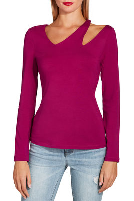 Display product reviews for So Sexy™ asymmetric cutout long sleeve top