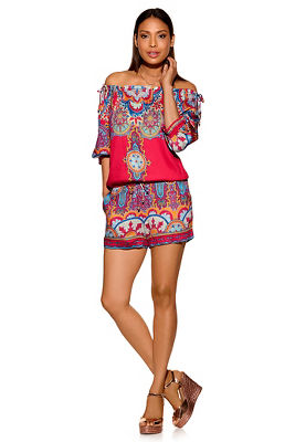 Colorful off-the-shoulder romper